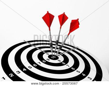 Three darts on bulls eye of a dart board