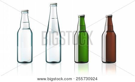Clear Water Glass Bottles Isolated On White