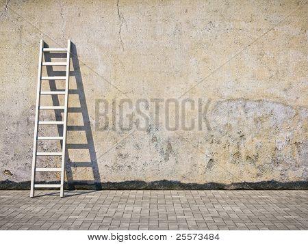 Pared en blanco grunge sucio con escalera