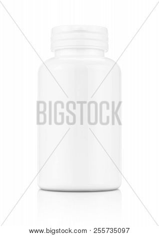 Blank Packaging White Plastic Bottle For Supplement Product Isolated On White Background With Clippi
