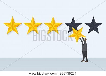 Businessman Holds Star Fixing Rank, Giving Own Opinion And Rate Of Something, Report And Positive Fe