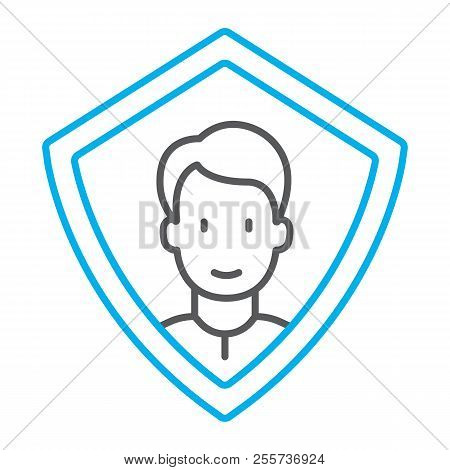 Face Id Protection Thin Line Icon, Face Recognition And Face Identification, Face Scanning Sign, Vec
