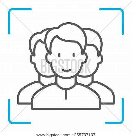 Multi Face Id Thin Line Icon, Face Recognition And Face Identification, Face Scanning Sign, Vector G