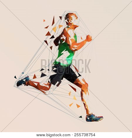 Vector Runner, Abstract Geometric Running Man Illustration. Side View. Low Poly