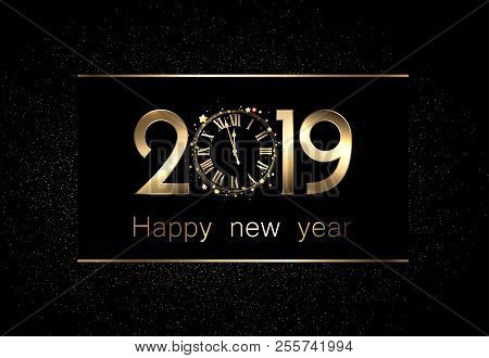 black 2019 happy new year background with golden shiny clock
