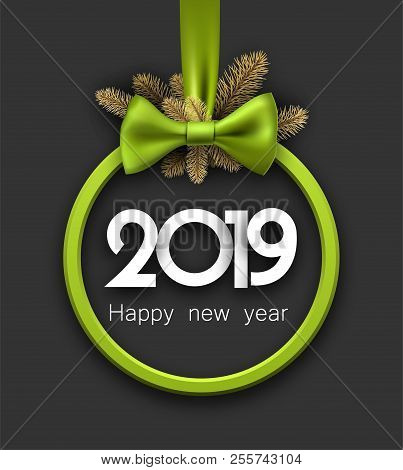 grey 2019 happy new year background with green round frame and b