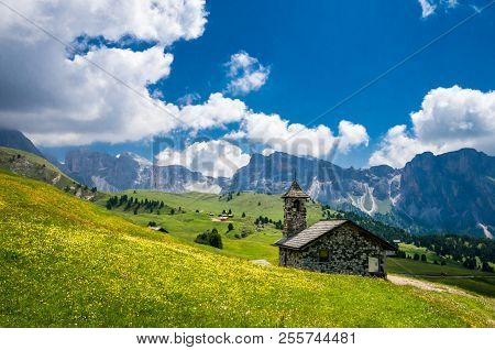 A Small Church In Gruppo Delle Odle. Puez Odle Massif In Dolomites Mountains, Italy, South Tyrol Alp