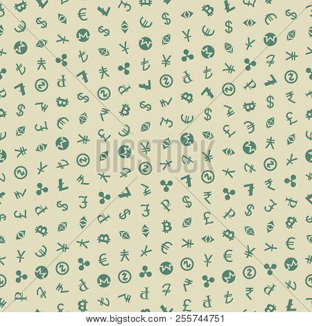 Various Foreign Currencies And Crypto Currencies Signs Vector Seamless Pattern. Various Currency Sym