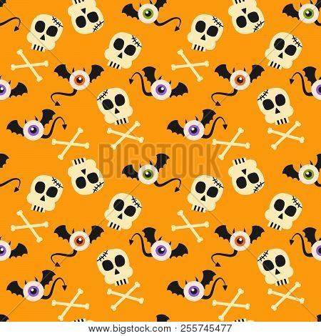Cute Halloween Symbols, Monster And Skull, Seamless Pattern.