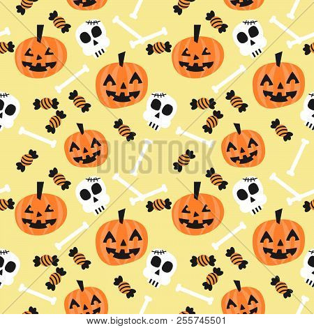 Cute Halloween Pumpkin And Skull Seamless Pattern. Trick Or Treat On Halloween.