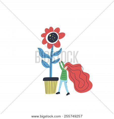Vector Illustration With Cartoon Characters Taking Care Of A Plant. Small Woman And Giant Flower - G