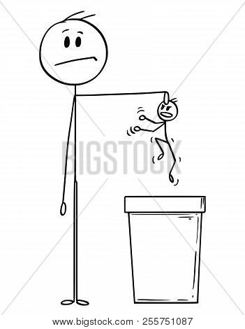 Cartoon Stick Drawing Conceptual Illustration Of Man Or Businessman Throwing Another Man Or Useless