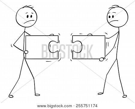 Cartoon Stick Man Drawing Conceptual Illustration Of Two Businessmen Holding And Trying To Connect T