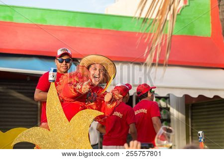 Isla Mujeres, Qr, Mexico - Feb 11, 2018: Exuberant Man Performing On A Float In A Local Celebration