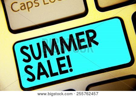 Writing Note Showing Summer Sale. Business Photo Showcasing Annual Discount Events That Takes Place