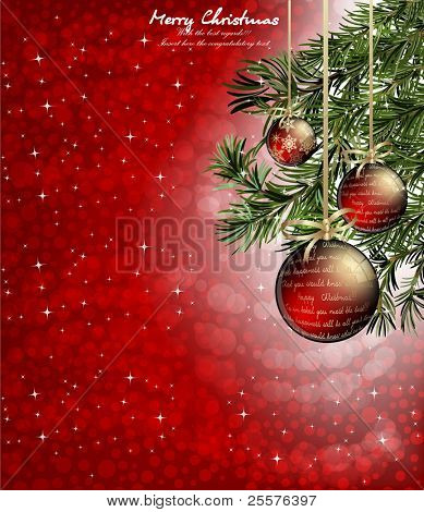 christmas background with baubles and christmas tree