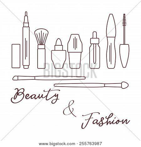 Makeup. Decorative Cosmetics, Cosmetic Oil. Glamour Fashion Vogue Style. Eyeliner, Brushes, Lipstick