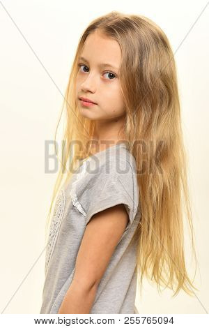 Girl Portrait. Portrait Of Pretty Small Girl. Girl Portrait Isolated On White. Portrait Of Girl With