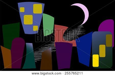 The Darkest Night. The Image In The Style Of Cubism.