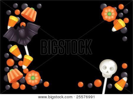 Halloween postcard with sweets, composing a frame for any text