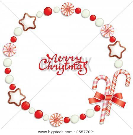 Christmas background with candies, composing a round frame for your text