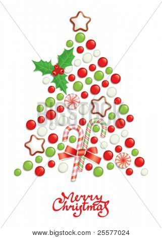 Candy christmas tree with greeting inscription