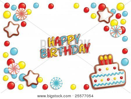 Birthday background with sweets composing a frame for your text