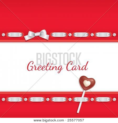 Festive background decorated with ribbon and chocolate candy