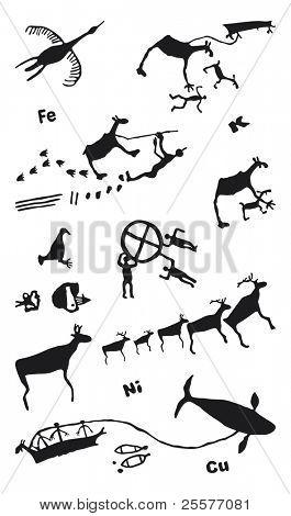 Set of vector rock drawings. Umba, Russia.