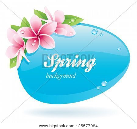 Spring background of glossy bubble decorated with flowers