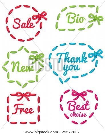 Set of embroidered selling tags isolated on white background