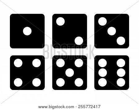 Set Of Black Dice Icon. Six Dice Vector Illustration.