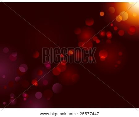 Magic sparkle, light dots on black background with copy space. Vector bokeh effect. Use of blends, no radial gradients.
