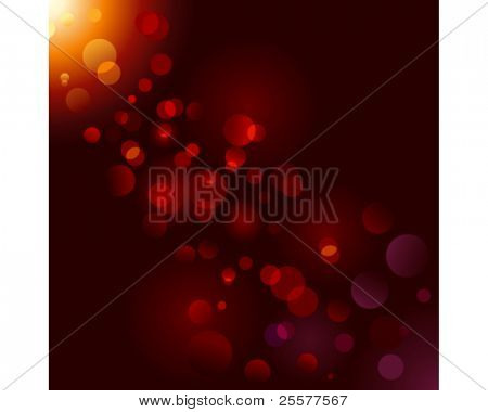 Magic sparkle, light dots on black background with copy space. Vector bokeh effect. Use of blends and linear gradients