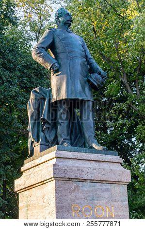 Berlin, Germany - August 16, 2018: Statue Of Albrecht Graf Von Roon In Tiergarten, Berlin, Germany.