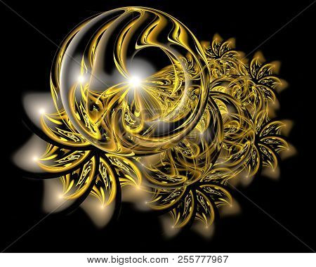 Abstract Christmas Decoration Background In Glowing Gold Color. Beautiful Winter Pattern With Snowfl
