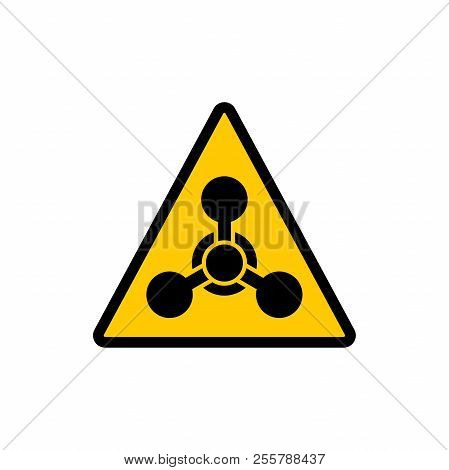 Yellow Triangle Warning Chemical Hazard Sign. Chemical Hazard Warning Triangular Vector Symbol Stick