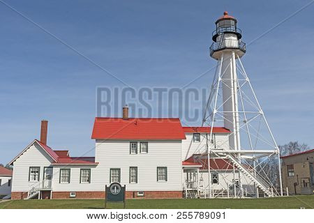 Historic Lighthouse On Whitefish Point On Lake Superior In Upper Michigan