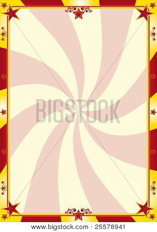Red and yellow circus poster. A circus background for your advertising