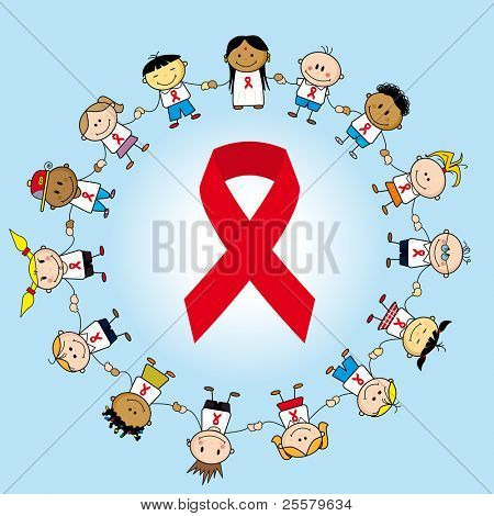 Aids day. Group of children around an aids ribbon.