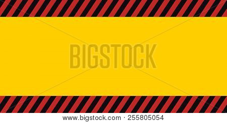 Horizontal Warning Banner Frame, Red, Yellow, Black, Diagonal Stripes, Hazard Backdrop Wallpaper Dan