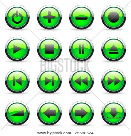 Green vector media and web icon (set 4)