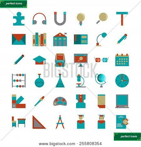 Education And Learning  Flat Icons Set Perfect Pixel. Use For Website, Template,package, Platform. C