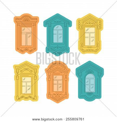 Retro Window Icon, Window Vintage Frames, Windows Of The Fairy Hut. Isolated Thin Line Icons, Vector