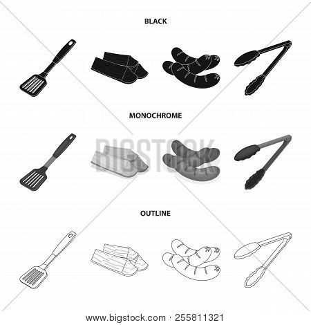 Blade Kitchen, Firewood, Sausages And Other For Barbecue.bbq Set Collection Icons In Black, Monochro