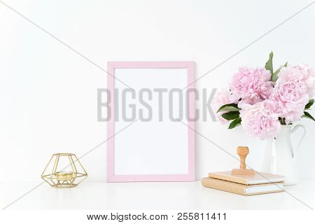 Pink Summer Portrait Frame Mock Up With A Pink Peonies, Candle And Stamp Beside The Frame, Overlay Y