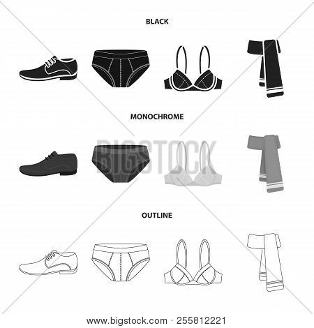 Male Shoes, Bra, Panties, Scarf, Leather. Clothing Set Collection Icons In Black, Monochrome, Outlin
