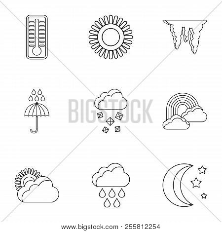 Weather Outside Icons Set. Outline Illustration Of 9 Weather Outside Icons For Web