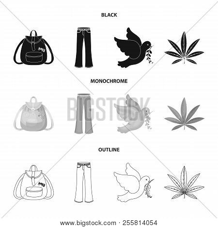 A Cannabis Leaf, A Dove, Jeans, A Backpack.hippy Set Collection Icons In Black, Monochrome, Outline