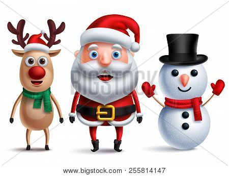 Santa Claus Vector Character With Snowman And Rudolph The Reindeer Wearing Christmas Hats And Scarf